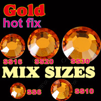 Mix 5 Sizes 1200pcs/Lot,Gold Golden HotFix Rhinestone crystals SS6 SS10 SS16 SS20 SS30 FlatBack  strass to Hot Fix  stones