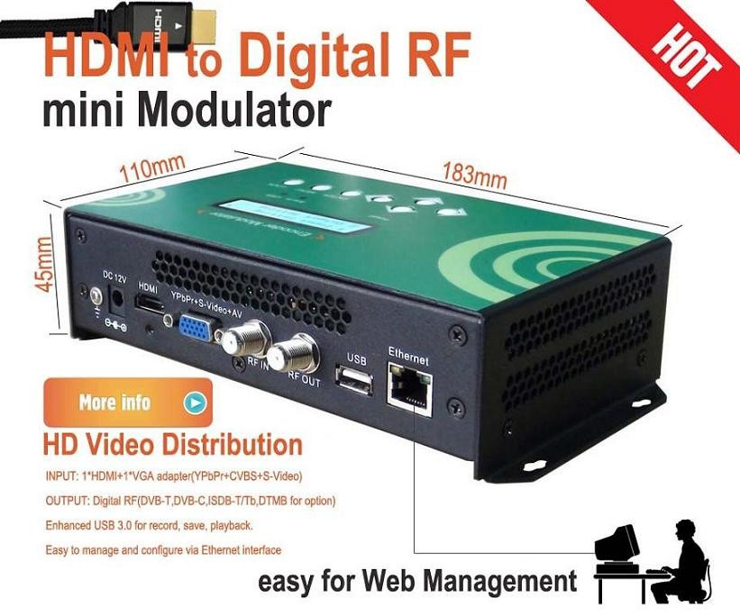 mini HD digital RF Modulator based on web management