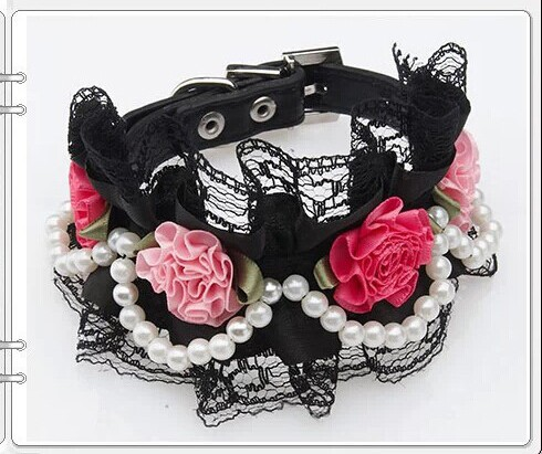 4-satin-flowers-dog-collar-pets-pu-collars-pearls-necklace-with-bling-buckle-3colours-size-S
