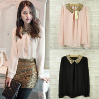Free shipping 2014 Sequins Blouses Spring S M L Women Shirt  Peter Pan Collar Long sleeve Chiffon Shiny Loose OL Sexy Tops