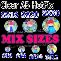 Mix 7 Sizes 1500pcs/Lot ,Clear AB HotFix SS6 SS8 SS10 SS12 SS16 SS20 SS30 FlatBack Rhinestones,Hot Fix glitters crystals stones