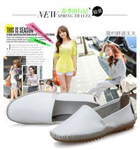 Promotions!!New 2014 Women genuine Leather Shoes Slip-on Ballet women Flats Comfort Anti-skid woman Shoes (5)