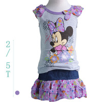 New Summer 2014 Casual Brand Girl Clothing for children Minnie mouse Cap sleeve Bow-knot T shirt + Tulle skirt Skort Set