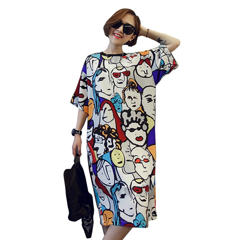 Summer-Women-s-Dress-2016-Korean-Style-Fashion-Dress-Loose-Abstract-Cartoon-Printed-Short-sleeved-Casual