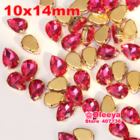 48pcs/bag 10x14mm Fuchsia Color Waterdrop Shape sew on Stone with Claw Rhinestone With Golden Base ,Crystal Droplet O2585