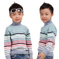 2014-NEW-Model-Children-Winter-Bottoming-Sweaters-Size-90-130-cm-Turtle-Neck-Fashion-Stripe-Design