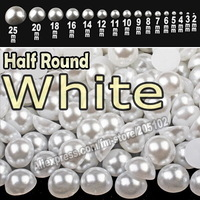 White Half Round Flatback Pearls , mix sizes 2mm-25mm all sizes for choice ,loose ABS imitation pearl beads plain color for nail