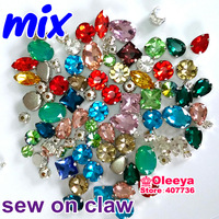 50ps Mixed Shapeds Colors Sizes Pointback Sew On Rhinestone with Claw Settings Glass Crystal Sewing Chatons in Claws Dress Y1906