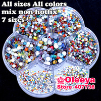 Mix Sizes Mix Colors Non HotFix Rhinestones Nail Art Glitters Flat Back Glass Not Hot Fix Rhinestones About 2600pcs/box