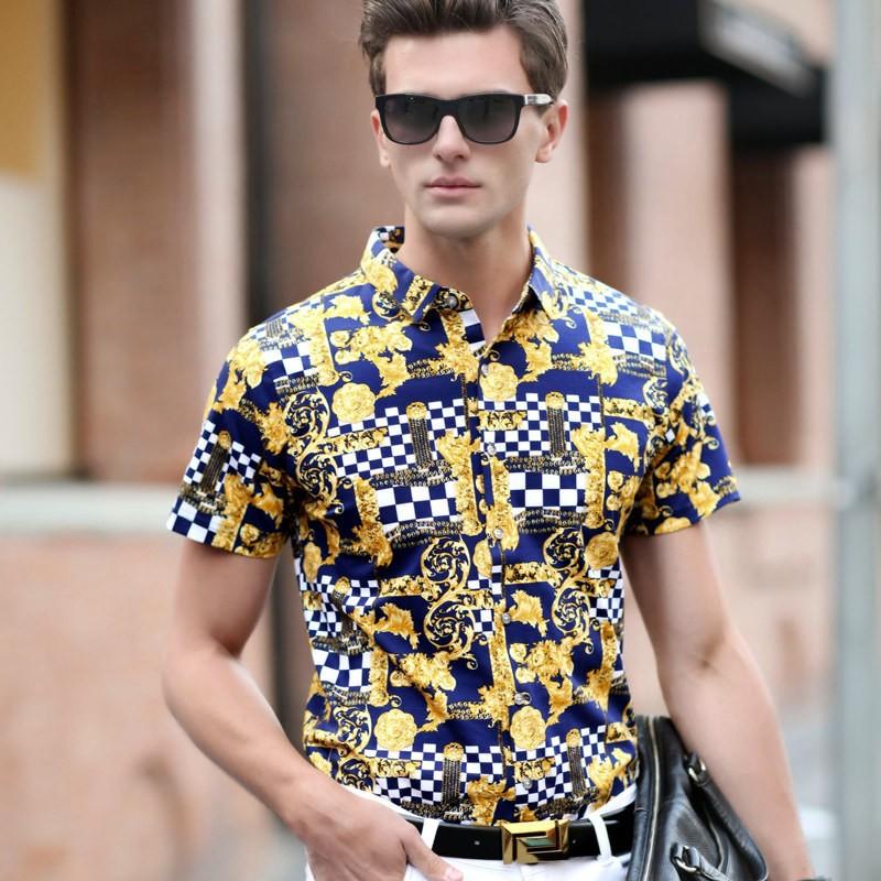 Fashion-2016-summer-new-men-shirt-silk-cotton-chemise-homme-camisa-masculina-print-short-sleeve-casual