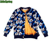 Retail 1 pcs 2014 children's winter clothes boys girls warm coat cartoon printing jacket LittleSpring GLZ-S0322