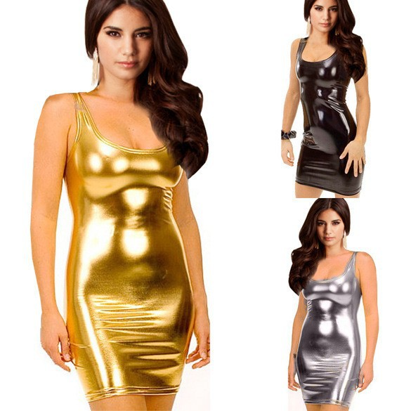 Super-Sexy-Women-Synthetic-Leather-Dresses-Clubwear-Gold-Silver-Black-Bodycon-Casual-Bag-Hip-Mini-Summer