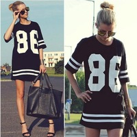 [A++] White Black New Baseball T Shirt 2014 Summer Women Celebrity Tee Oversized 86 American Top Short Sleeve Loose Dress S M L