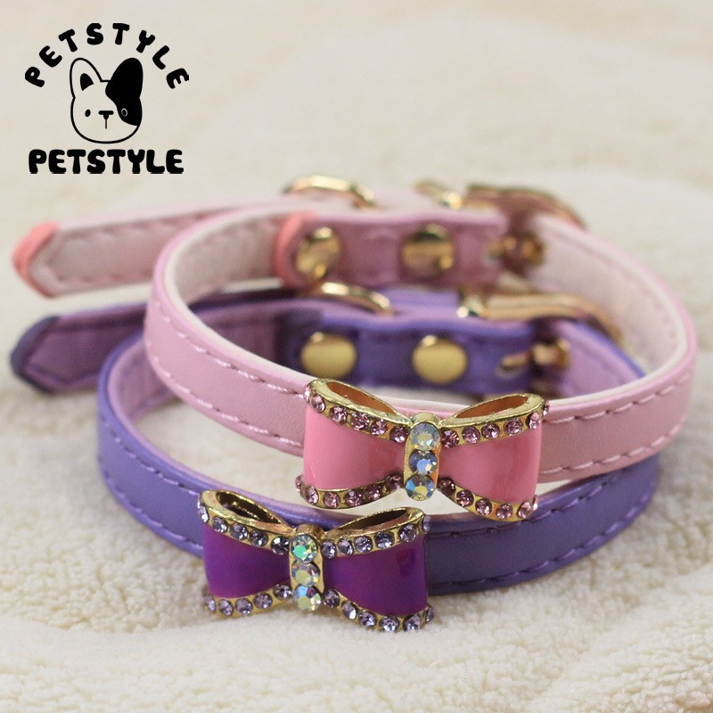 Soft-pu-cat-kitten-collars-doggie-puppy-collar-with-bling-bow-for-chihuahua-XS-pink-purple