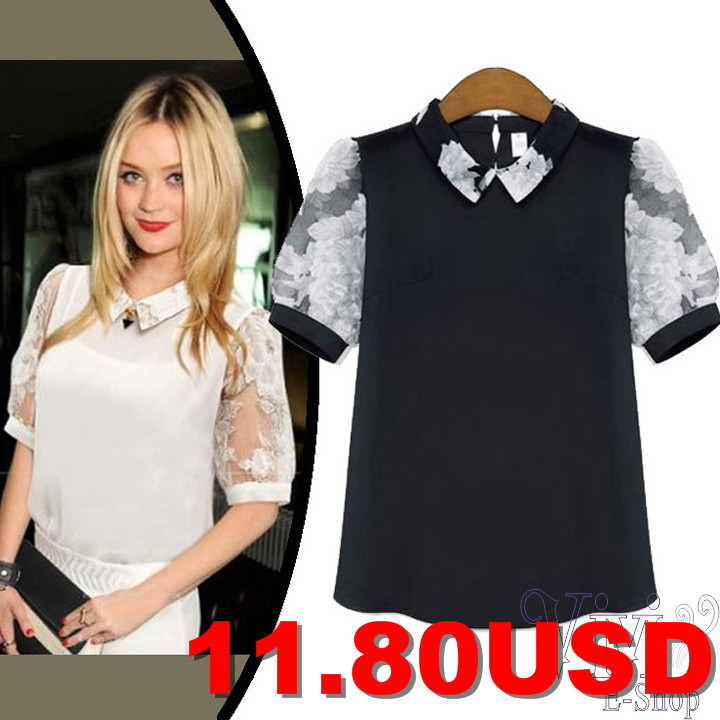 2014-New-Europe-Organza-Straight-Loose-Casual-Shirts-Women-Chiffon-Puff-Sleeve-Blouse-OL-Turn-Down