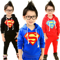 Boys girls superman hoodies suit clothes long sleeve sets children hoodie + sports trousers ,children clothing sets GLZ-T0323
