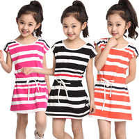 Free shipping 2014 summer girls Dress cute striped five color  sleeveless princess dress Blue children's clothing New hot 8356