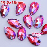 Wholesale! 50pcs 10.5x18mm dropwater Sew on rhinestones Siam AB color  Flatback Pear Shape Sew on Crystal stone  2 holes Y1250