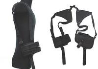 SWAT Tactical Shoulder Pistol Holster w/Mag Pouch Shoulder Pistol Holster Handed +Dual Mag Black