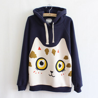 lacegirl's New 2014 winter warm fashion cat Character print fleece thicker long-sleeved hooded sweater sweatshirt