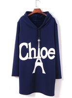 lacegirl's New 2014 Autumn Harajuku women fashion Fleece warmd Long letter tower  hoody sweatshirt Top female
