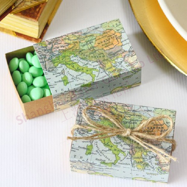 Map Favor Box Party Decoration