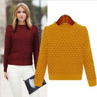 New 2014 autumn winter women's sweater fashion long-sleeved crew neck sweater feminino pullover Jumper Solid sweaters