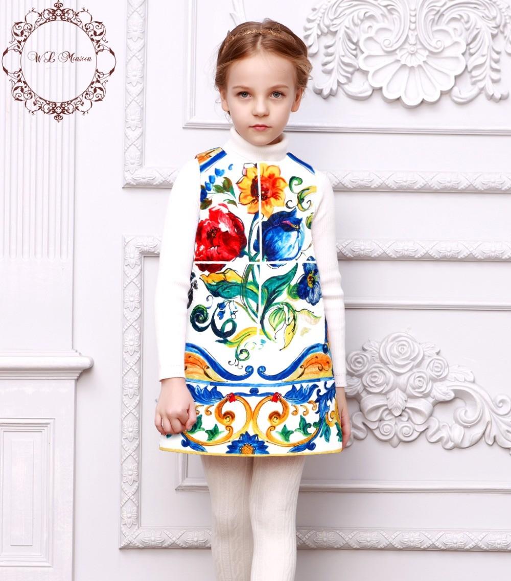 Girl-Dress-2017-Winter-Brand-Princess-Dress-Girl-Costume-Majolica-Print-Dobby-Kids-Dresses-for-Girls
