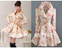 High Quality S-XL fashion women's Rose flower big bottom long coat Outerwear jacket wool Plus S M L XL free shipping #NS7561