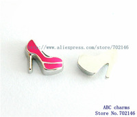 Free Shipping wholesale  New Style 10pcs High heel shoe  Floating locket Charms FC1035 Fit Glass Floating Locket