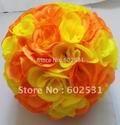 Free-shipping-TOP-20cm-mix-yellow-orange-artificial-rose-wedding-KISSING-BALL