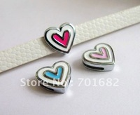 Lovely!!! Wholesale 10pcs Mix Color Heart Internal Dia:8mm Slide Charm can through 8mm Belt Pet Collar Free Shipping