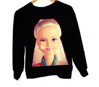 Elina's shop 2014 New  winter Fleece women Harajuku Character long sleeve joke barbie print sportwear hoody sweatshirt