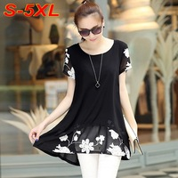 2015 Summer style Dresses Fashion Plus Size 5XL White Black Dresses Women Print Chiffon Shirt Dress Mini Vestidos femininos