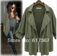 High Quality 2014 Hot Fashion Women's Blouse Army Green Button Down Frock Jackets Casual Top Collar Outerwear Coat  S M L