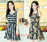 Hot sale ! New High Quality 2015 summer Cozy women's Clothes chiffon dresses desigual casual sleeveless Flower dress 23 Color