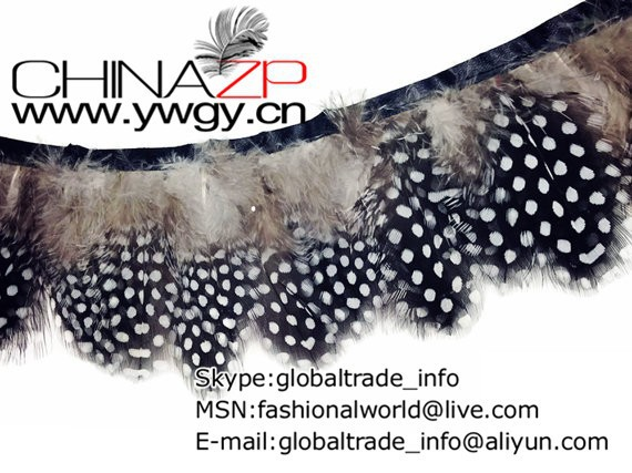 Guinea Feathers, 1 Yard - NATURAL Guinea Hen Plumage Feather Trim