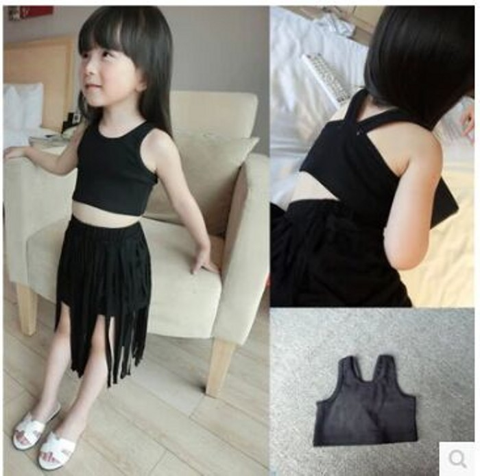 EMS-DHL-Free-Shipping-Toddler-Girls-2pc-Suit-Summer-Style-Kids-Clothes-Girls-Clothing-Black-Top
