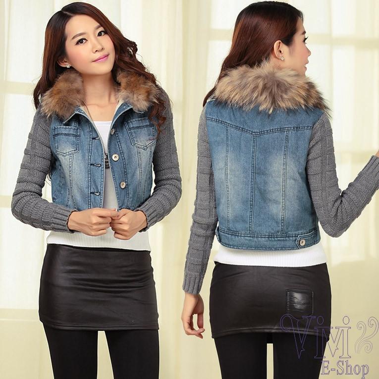 2014-New-Women-s-Spring-Autumn-Short-Denim-Jacket-Women-Winter-Slim-Yarn-Large-Fur-Collar
