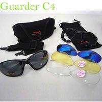 Camping Hiking Glasses G-C4 Polycarbonate Eye Protection Glasses C4 Tactical Shooting Glasses w/4 Set Lens &Belt