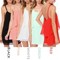 Sexy Summer Dress Spaghetti Halter Backless Chiffon Strap Dresses Beach Dress 5 Color