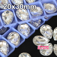 Pear shape Fancy Stone 20x30mm 12pcs Crystal Clear White Teardrop Pointback Glass Strass Rhinestones For Shoes Y3319