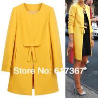 2014 Spring winter Woman Coat parka wool coat Outerwear yellow Cardigan bowknot Jacket Collarless Peacoat Cape free shipping