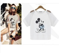 2015 New Fashion women t shirt Mickey and mouse Beads piece Organza Slim Short sleeve cotton Tee Blouse Top Free shipping S-XXL
