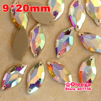 100pcs 9x20mm Leaf  Crystal AB Color 9x20mm  Flatback Sew On Rhinestones Crystal Beads Sew On Stone For Casual Dresses