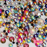 DMC Hot Fix Rhinestone AB Colors Magic Rainbow Colorful Mix  30Gram Approx 1000pcs Hot Fix Stone Glitter Crystal Beads