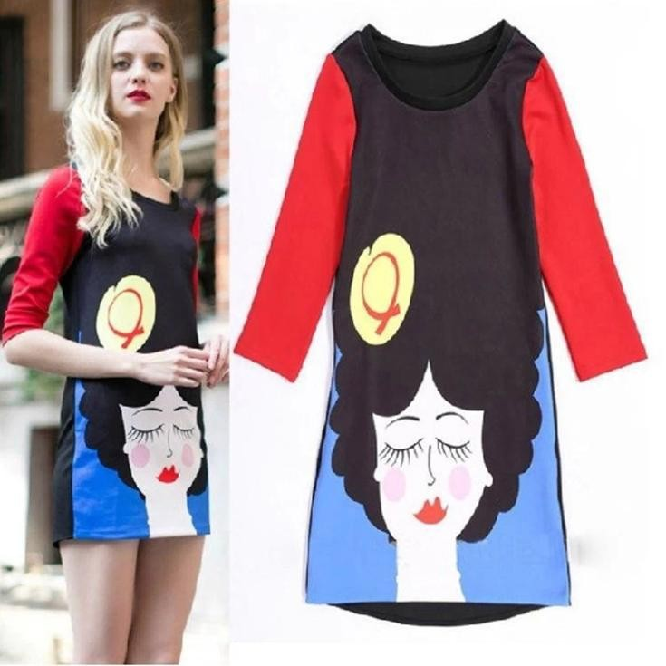 2014-New-European-Style-Spring-autumn-fashion-women-O-neck-cartoon-print-slim-casual-dress-WD0382