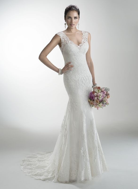 vestido de noiva sereia 2014 New V Neck Lace Applique Formal Long Mermaid Bridal Wedding Dress 2015
