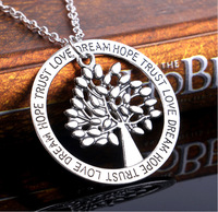 Vintage Silver Tree of Life Family Tree Love Footprints Pendants Love Dream Hope Trust Words Pendant Necklace Jewelry Gifts