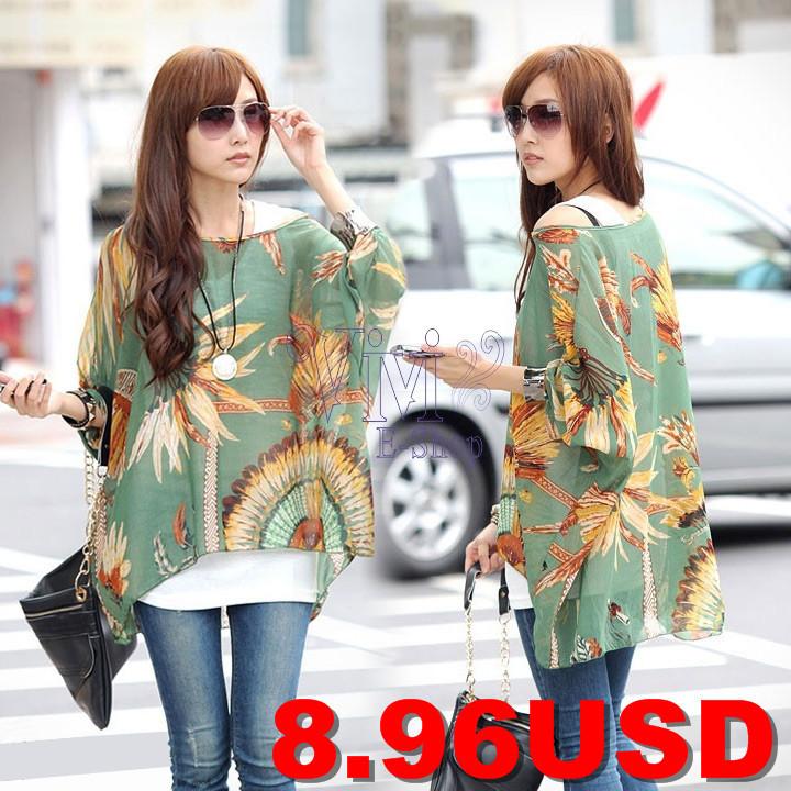 2014-New-Fashion-Women-Bohemian-Loose-Printed-Shirt-Batwing-Sleeve-Chiffon-Beach-Blouse-Tops-Green-19694